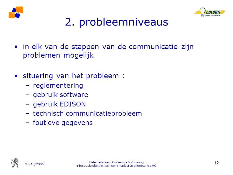 27/10/2006 Beleidsdomein Onderwijs & Vorming infosessie elektronisch communiceren pilootcentra HO 12 2. probleemniveaus in elk van de stappen van de c