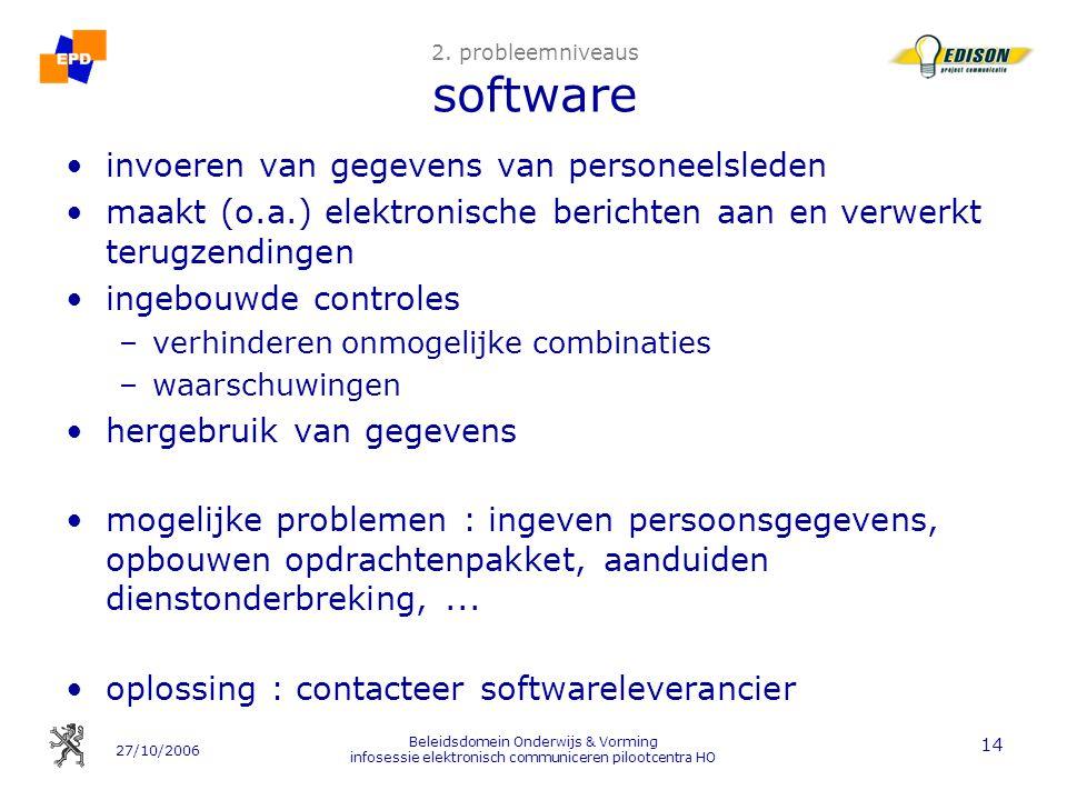 27/10/2006 Beleidsdomein Onderwijs & Vorming infosessie elektronisch communiceren pilootcentra HO 14 2. probleemniveaus software invoeren van gegevens