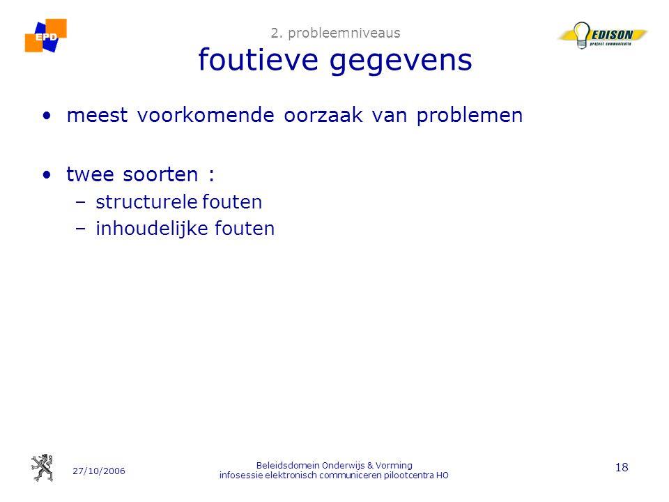 27/10/2006 Beleidsdomein Onderwijs & Vorming infosessie elektronisch communiceren pilootcentra HO 18 2.