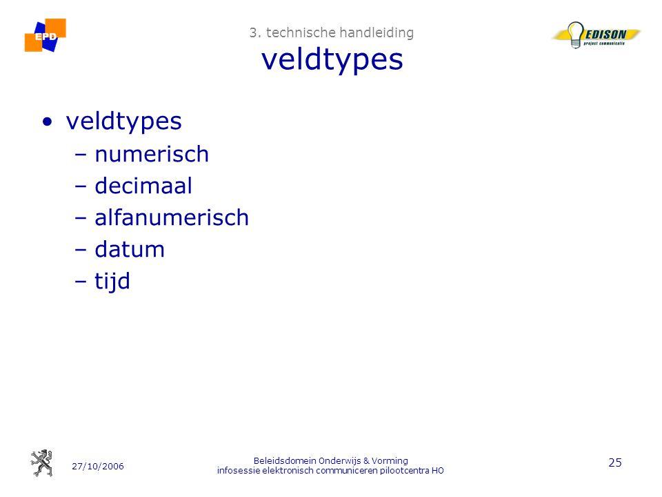 27/10/2006 Beleidsdomein Onderwijs & Vorming infosessie elektronisch communiceren pilootcentra HO 25 3. technische handleiding veldtypes veldtypes –nu