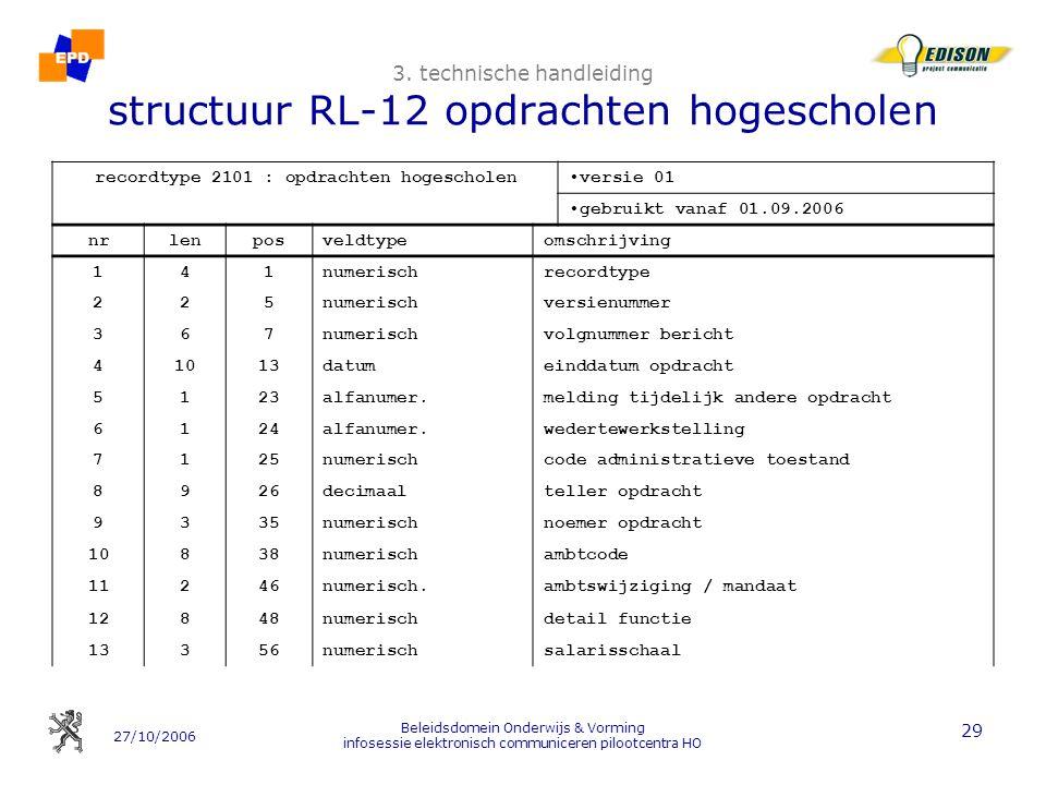 27/10/2006 Beleidsdomein Onderwijs & Vorming infosessie elektronisch communiceren pilootcentra HO 29 3. technische handleiding structuur RL-12 opdrach