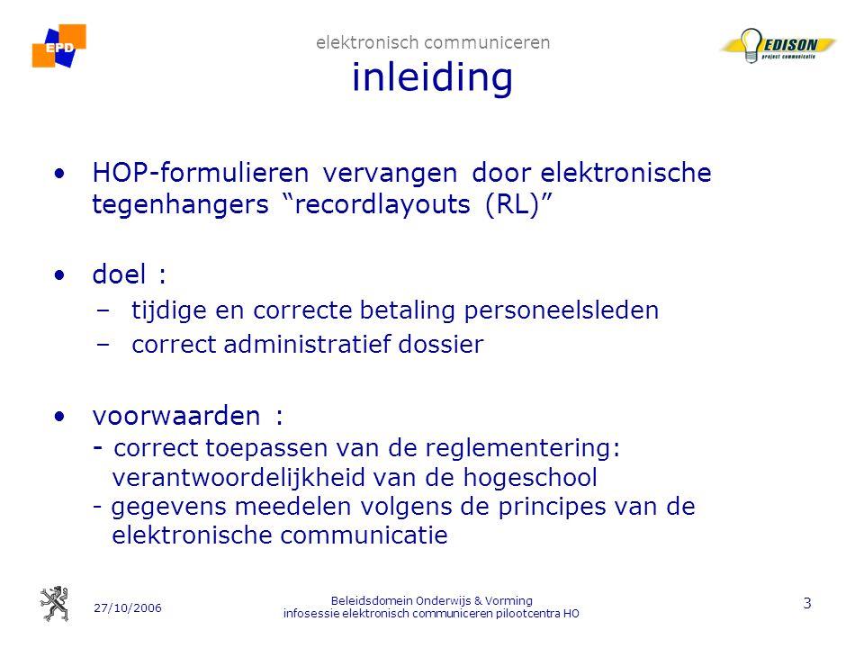 27/10/2006 Beleidsdomein Onderwijs & Vorming infosessie elektronisch communiceren pilootcentra HO 14 2.