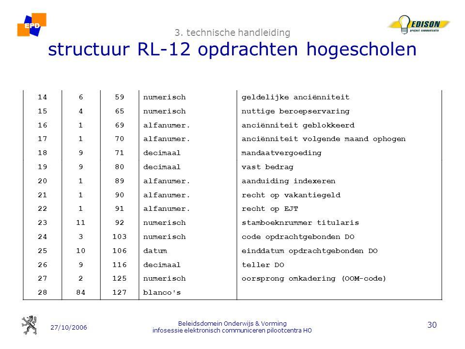 27/10/2006 Beleidsdomein Onderwijs & Vorming infosessie elektronisch communiceren pilootcentra HO 30 3. technische handleiding structuur RL-12 opdrach