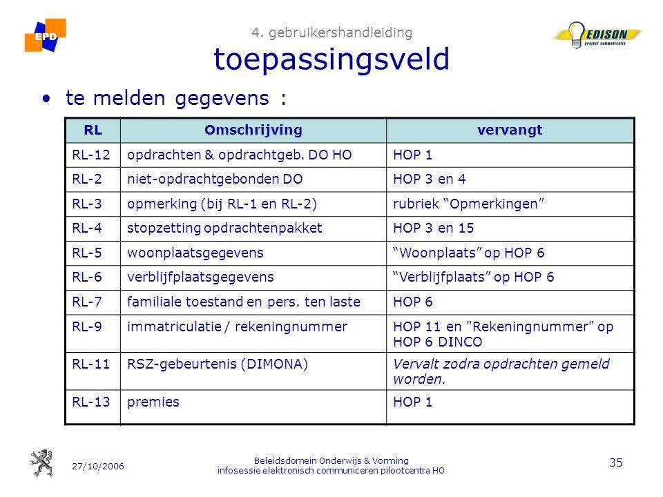 27/10/2006 Beleidsdomein Onderwijs & Vorming infosessie elektronisch communiceren pilootcentra HO 35 4.