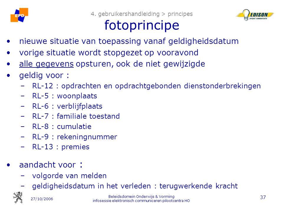 27/10/2006 Beleidsdomein Onderwijs & Vorming infosessie elektronisch communiceren pilootcentra HO 37 4. gebruikershandleiding > principes fotoprincipe