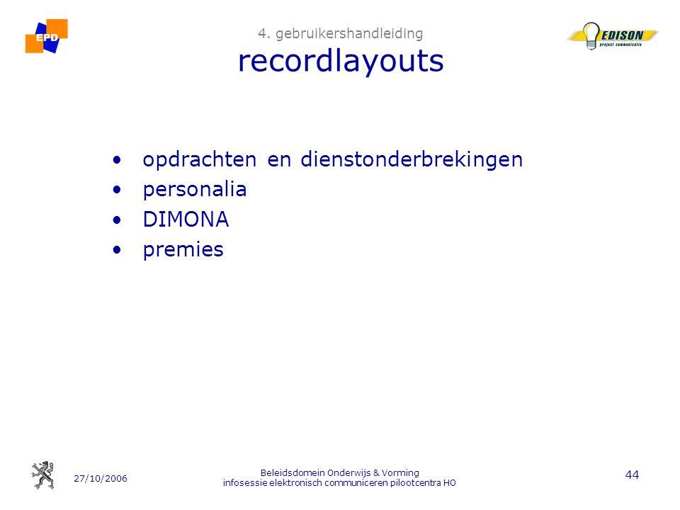 27/10/2006 Beleidsdomein Onderwijs & Vorming infosessie elektronisch communiceren pilootcentra HO 44 4. gebruikershandleiding recordlayouts opdrachten