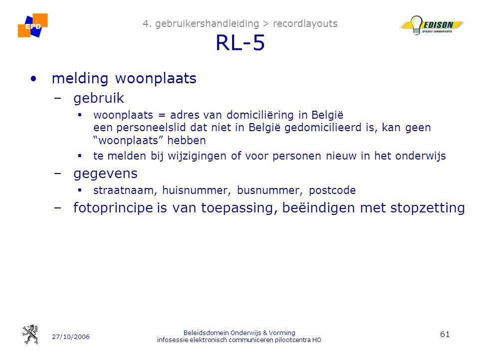 27/10/2006 Beleidsdomein Onderwijs & Vorming infosessie elektronisch communiceren pilootcentra HO 61 4.