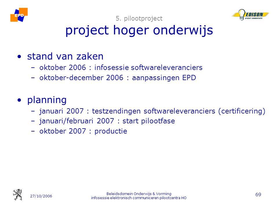 27/10/2006 Beleidsdomein Onderwijs & Vorming infosessie elektronisch communiceren pilootcentra HO 69 5. pilootproject project hoger onderwijs stand va