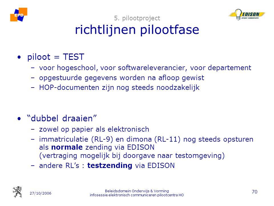 27/10/2006 Beleidsdomein Onderwijs & Vorming infosessie elektronisch communiceren pilootcentra HO 70 5. pilootproject richtlijnen pilootfase piloot =