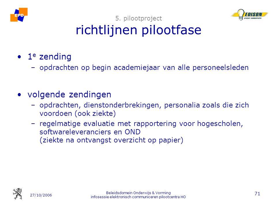 27/10/2006 Beleidsdomein Onderwijs & Vorming infosessie elektronisch communiceren pilootcentra HO 71 5. pilootproject richtlijnen pilootfase 1 e zendi