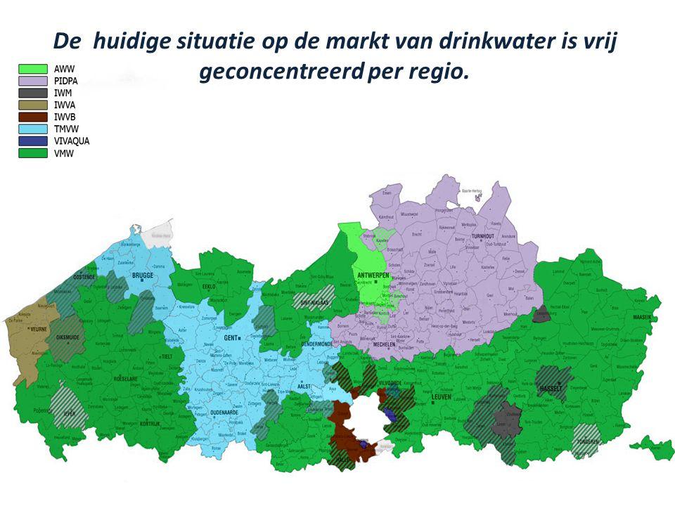 10 Tekening groter! De huidige situatie op de markt van drinkwater is vrij geconcentreerd per regio.