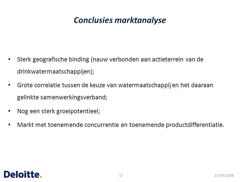 Conclusies marktanalyse Sterk geografische binding (nauw verbonden aan actieterrein van de drinkwatermaatschappijen); Grote correlatie tussen de keuze