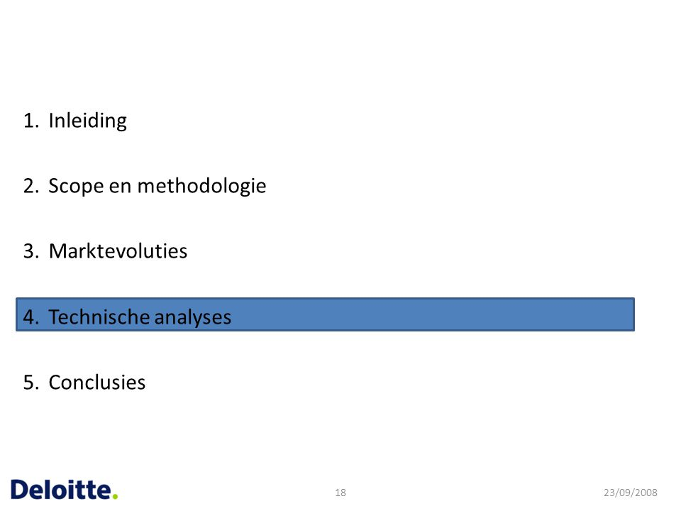 1.Inleiding 2.Scope en methodologie 3.Marktevoluties 4.Technische analyses 5.Conclusies 23/09/200818
