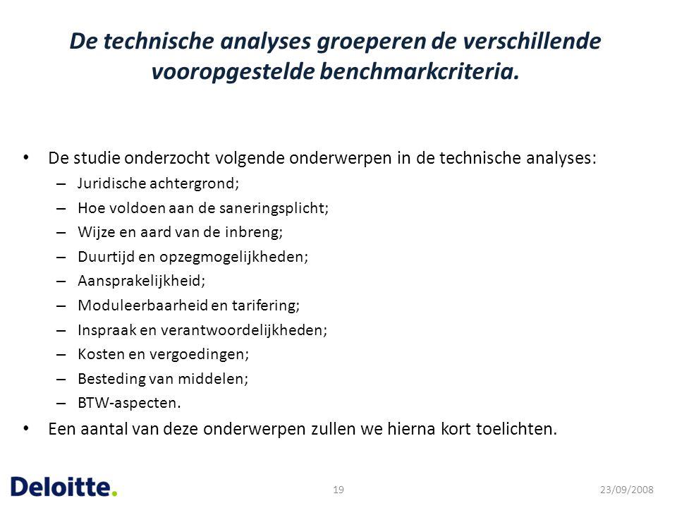 De technische analyses groeperen de verschillende vooropgestelde benchmarkcriteria. De studie onderzocht volgende onderwerpen in de technische analyse