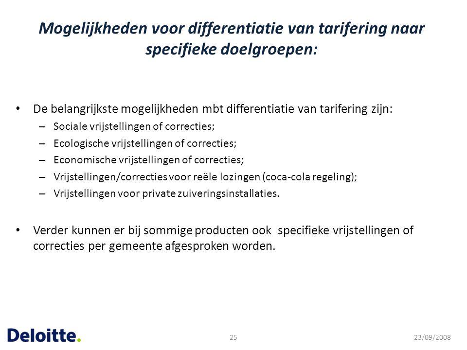 Mogelijkheden voor differentiatie van tarifering naar specifieke doelgroepen: De belangrijkste mogelijkheden mbt differentiatie van tarifering zijn: –