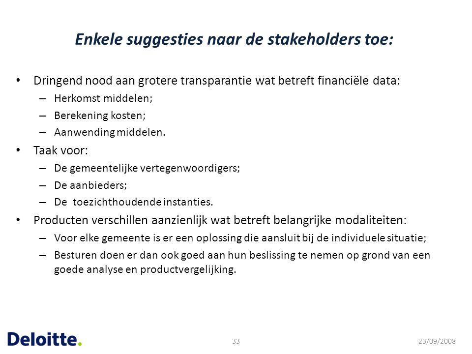 Enkele suggesties naar de stakeholders toe: Dringend nood aan grotere transparantie wat betreft financiële data: – Herkomst middelen; – Berekening kos