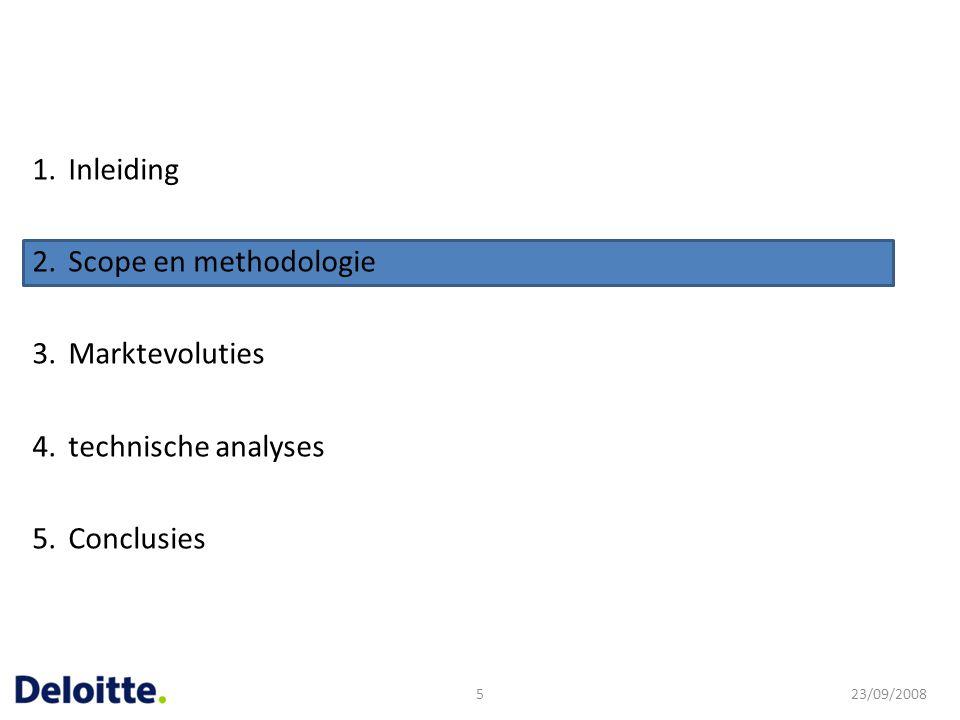 1.Inleiding 2.Scope en methodologie 3.Marktevoluties 4.technische analyses 5.Conclusies 23/09/20085