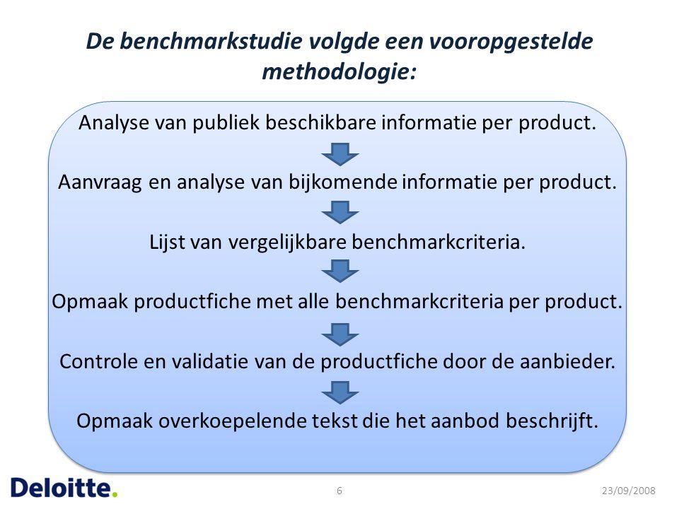 De benchmarkstudie volgde een vooropgestelde methodologie: Analyse van publiek beschikbare informatie per product. Aanvraag en analyse van bijkomende