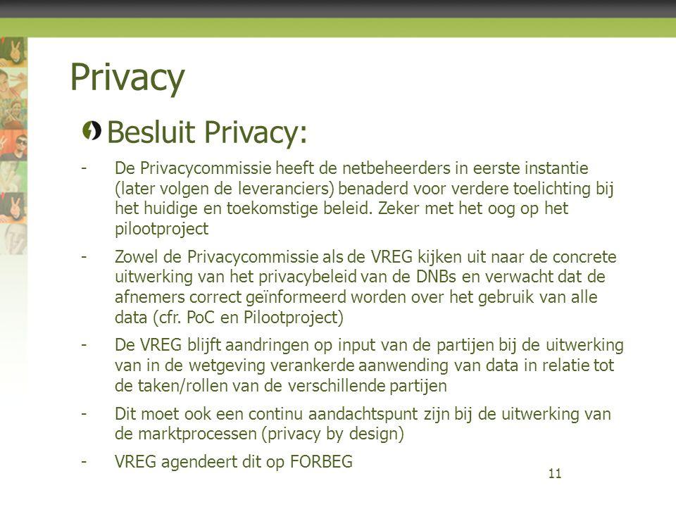 Privacy 11 Besluit Privacy: -De Privacycommissie heeft de netbeheerders in eerste instantie (later volgen de leveranciers) benaderd voor verdere toeli
