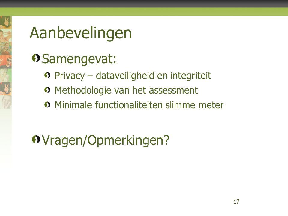 Aanbevelingen Samengevat: Privacy – dataveiligheid en integriteit Methodologie van het assessment Minimale functionaliteiten slimme meter Vragen/Opmer