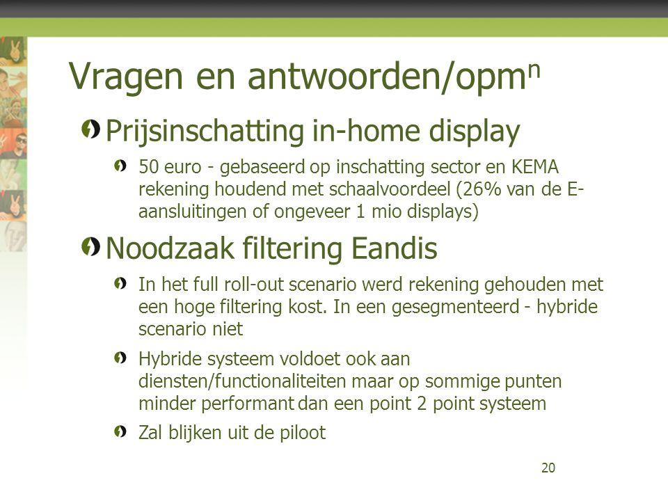 Vragen en antwoorden/opm n 20 Prijsinschatting in-home display 50 euro - gebaseerd op inschatting sector en KEMA rekening houdend met schaalvoordeel (