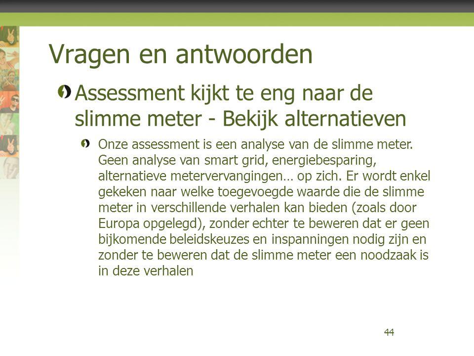 Vragen en antwoorden 44 Assessment kijkt te eng naar de slimme meter - Bekijk alternatieven Onze assessment is een analyse van de slimme meter. Geen a