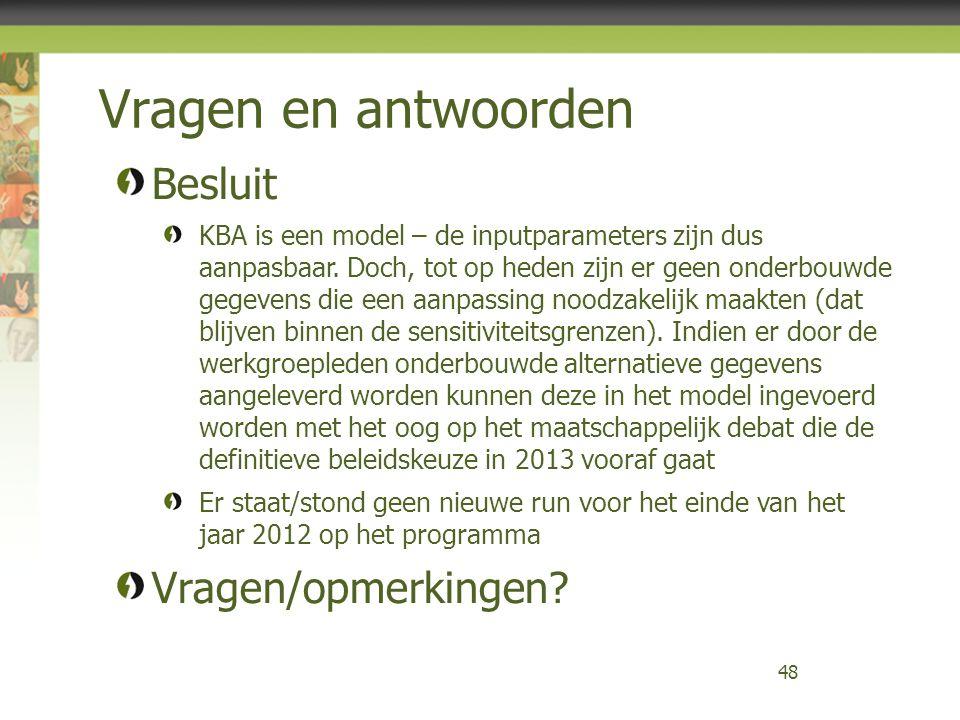 Vragen en antwoorden 48 Besluit KBA is een model – de inputparameters zijn dus aanpasbaar. Doch, tot op heden zijn er geen onderbouwde gegevens die ee