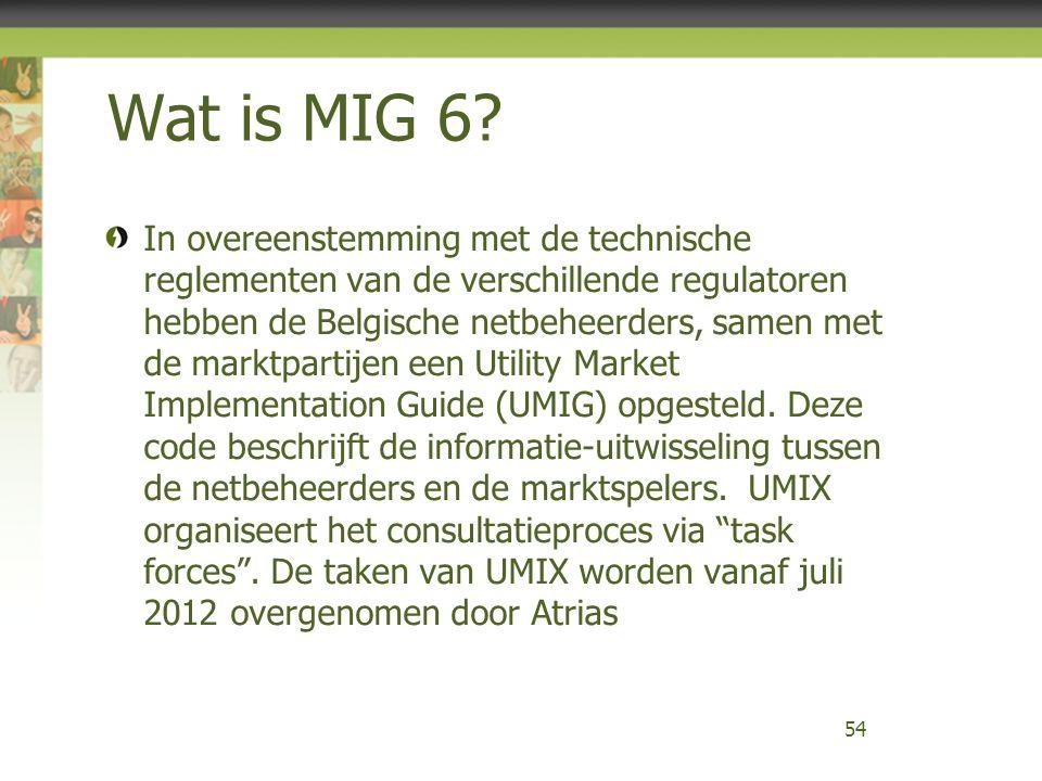 Wat is MIG 6? In overeenstemming met de technische reglementen van de verschillende regulatoren hebben de Belgische netbeheerders, samen met de marktp