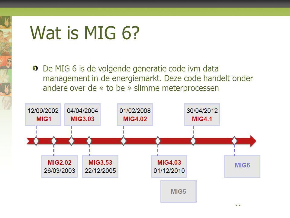 Wat is MIG 6? De MIG 6 is de volgende generatie code ivm data management in de energiemarkt. Deze code handelt onder andere over de « to be » slimme m