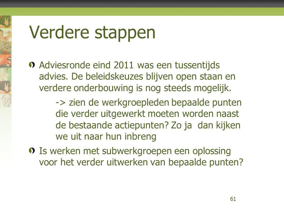 Verdere stappen Adviesronde eind 2011 was een tussentijds advies. De beleidskeuzes blijven open staan en verdere onderbouwing is nog steeds mogelijk.