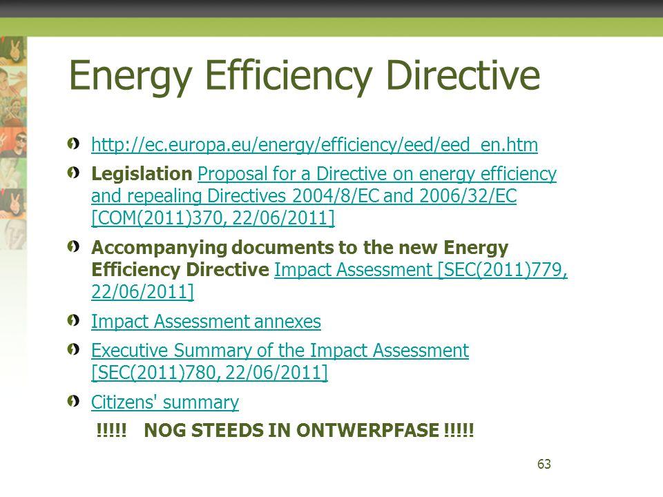 http://ec.europa.eu/energy/efficiency/eed/eed_en.htm Legislation Proposal for a Directive on energy efficiency and repealing Directives 2004/8/EC and
