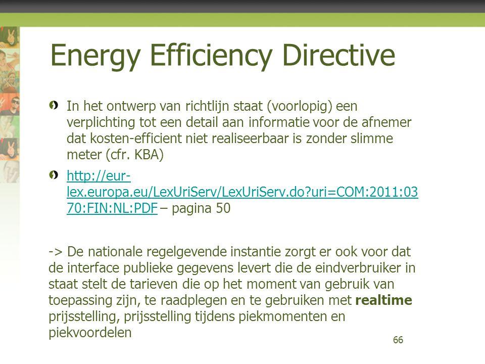 Energy Efficiency Directive In het ontwerp van richtlijn staat (voorlopig) een verplichting tot een detail aan informatie voor de afnemer dat kosten-e