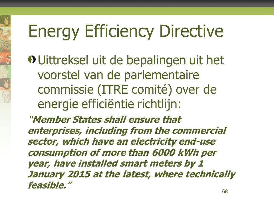 """Uittreksel uit de bepalingen uit het voorstel van de parlementaire commissie (ITRE comité) over de energie efficiëntie richtlijn: """"Member States shall"""