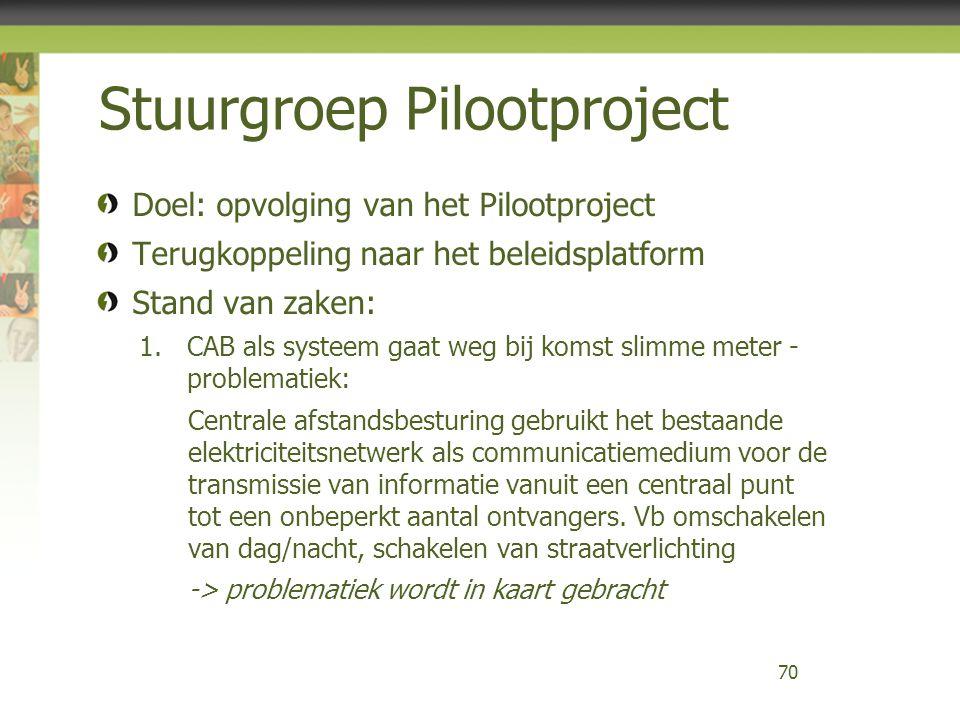 Stuurgroep Pilootproject Doel: opvolging van het Pilootproject Terugkoppeling naar het beleidsplatform Stand van zaken: 1.CAB als systeem gaat weg bij