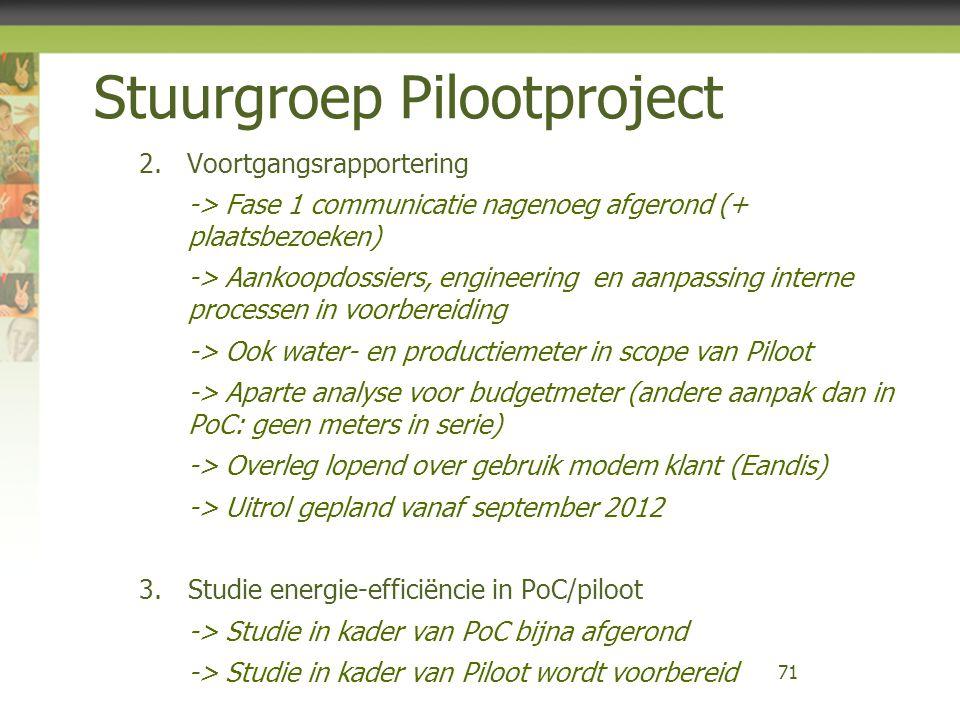Stuurgroep Pilootproject 2.Voortgangsrapportering -> Fase 1 communicatie nagenoeg afgerond (+ plaatsbezoeken) -> Aankoopdossiers, engineering en aanpa