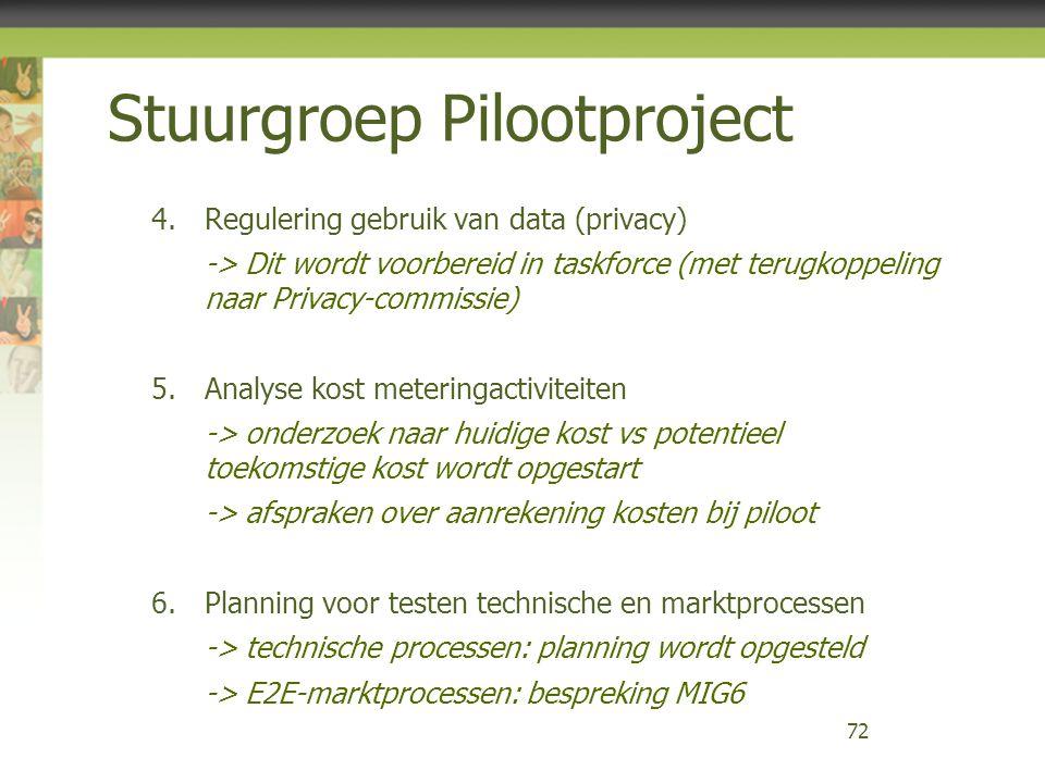 Stuurgroep Pilootproject 4.Regulering gebruik van data (privacy) -> Dit wordt voorbereid in taskforce (met terugkoppeling naar Privacy-commissie) 5.An