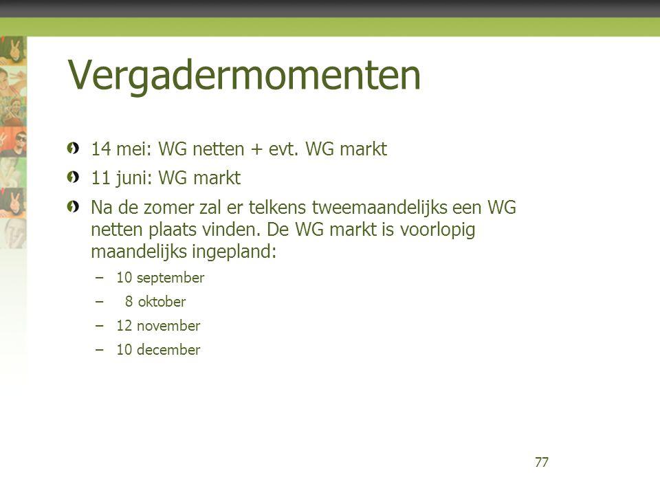 Vergadermomenten 14 mei: WG netten + evt. WG markt 11 juni: WG markt Na de zomer zal er telkens tweemaandelijks een WG netten plaats vinden. De WG mar