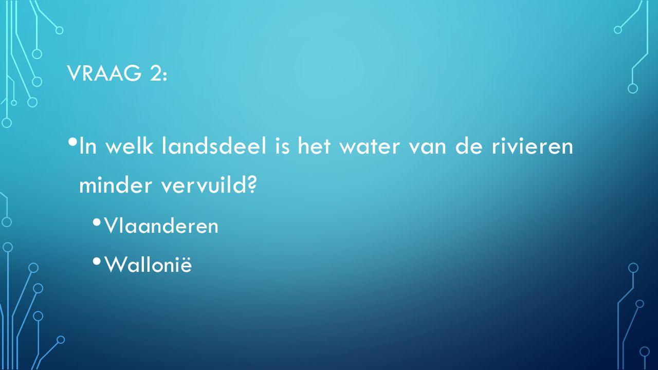 VRAAG 2: In welk landsdeel is het water van de rivieren minder vervuild? Vlaanderen Wallonië