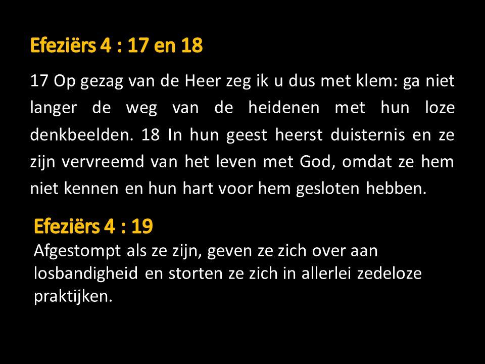 17 Op gezag van de Heer zeg ik u dus met klem: ga niet langer de weg van de heidenen met hun loze denkbeelden. 18 In hun geest heerst duisternis en ze