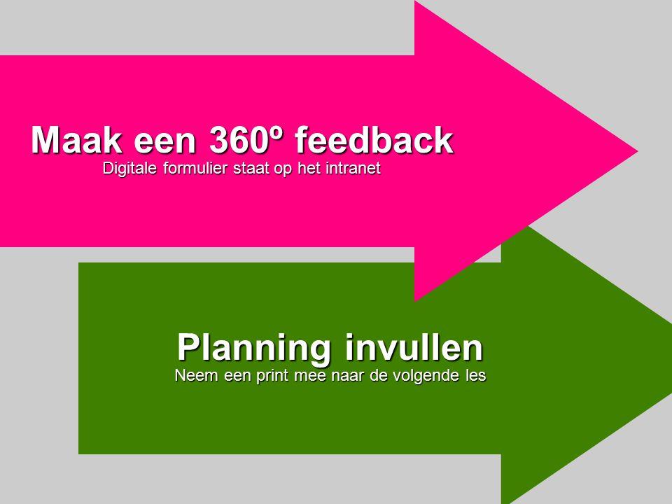 Planning invullen Neem een print mee naar de volgende les Maak een 360º feedback Digitale formulier staat op het intranet