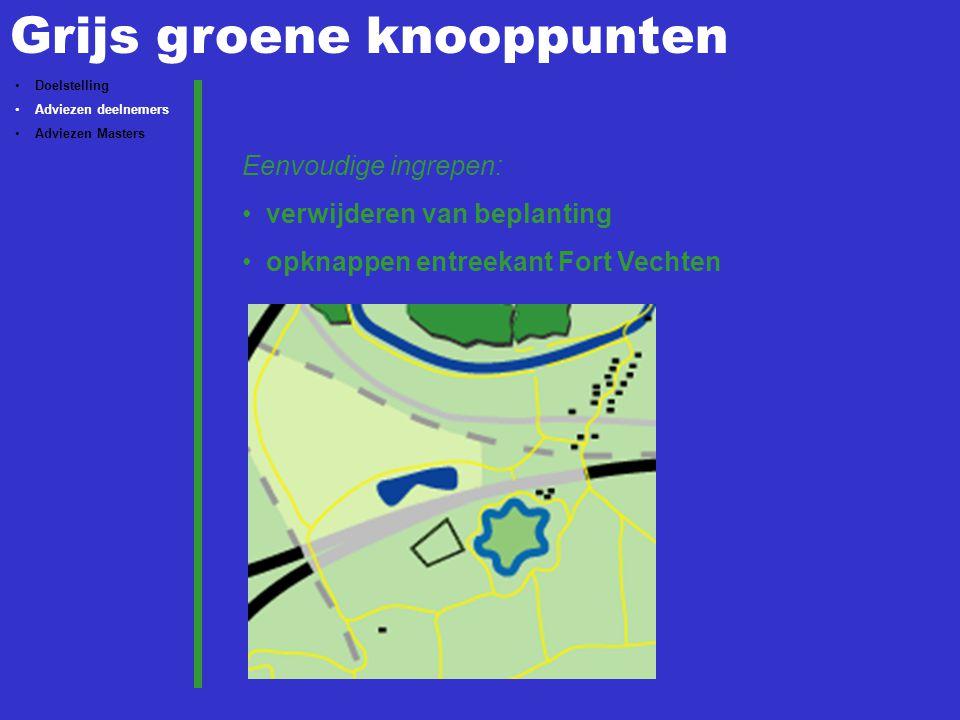 Grijs groene knooppunten Doelstelling Adviezen deelnemers Adviezen Masters Eenvoudige ingrepen: verwijderen van beplanting opknappen entreekant Fort V