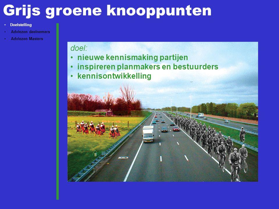 Grijs groene knooppunten doel: nieuwe kennismaking partijen inspireren  planmakers en bestuurders kennisontwikkelling Doelstelling Adviezen deelnemers Adviezen Masters