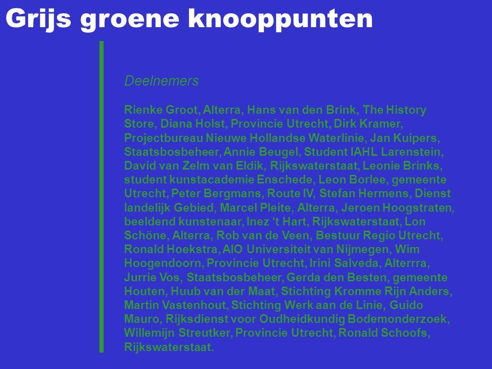 Grijs groene knooppunten Deelnemers Rienke Groot, Alterra, Hans van den Brink, The History Store, Diana Holst, Provincie Utrecht, Dirk Kramer, Project