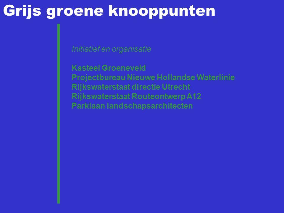 Grijs groene knooppunten Initiatief en organisatie Kasteel Groeneveld Projectbureau Nieuwe Hollandse Waterlinie Rijkswaterstaat directie Utrecht Rijks