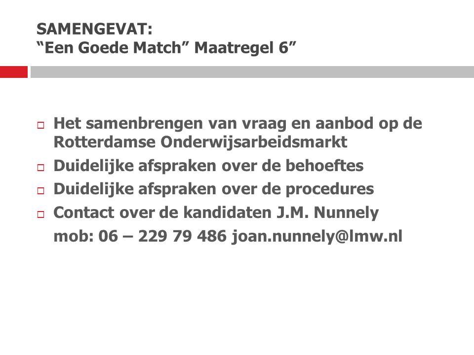 """SAMENGEVAT: """"Een Goede Match"""" Maatregel 6""""  Het samenbrengen van vraag en aanbod op de Rotterdamse Onderwijsarbeidsmarkt  Duidelijke afspraken over"""
