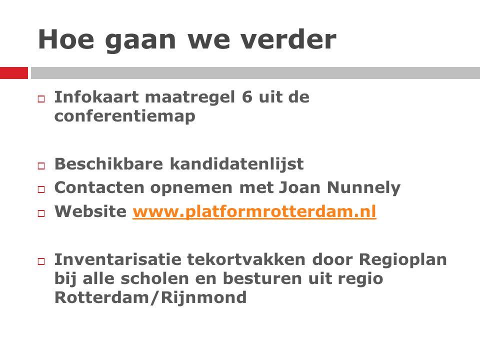 Hoe gaan we verder  Infokaart maatregel 6 uit de conferentiemap  Beschikbare kandidatenlijst  Contacten opnemen met Joan Nunnely  Website www.plat
