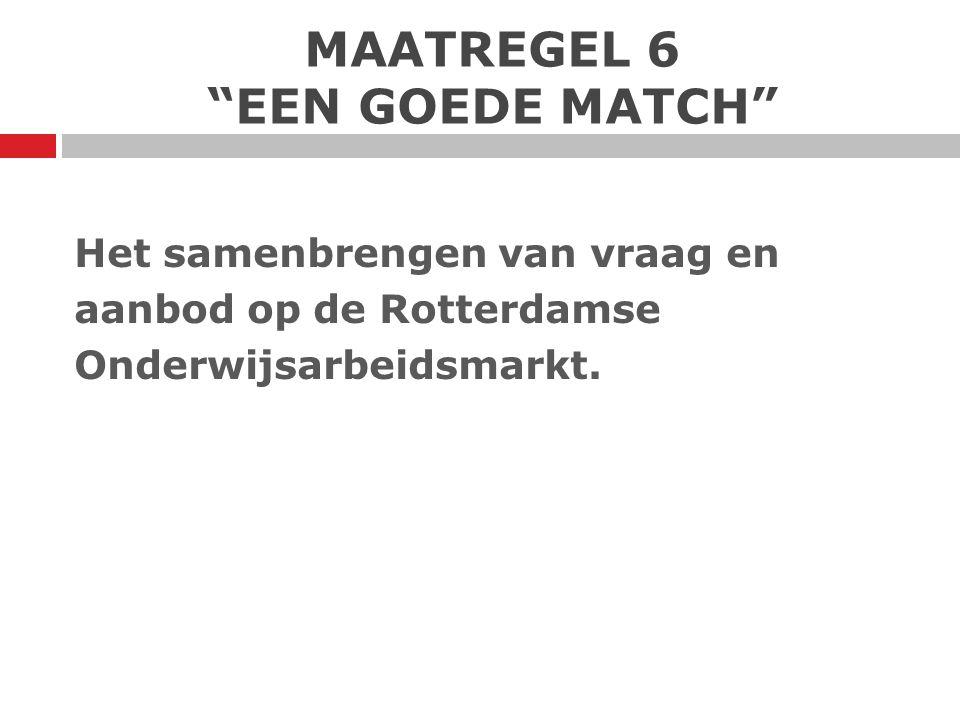 """MAATREGEL 6 """"EEN GOEDE MATCH"""" Het samenbrengen van vraag en aanbod op de Rotterdamse Onderwijsarbeidsmarkt."""