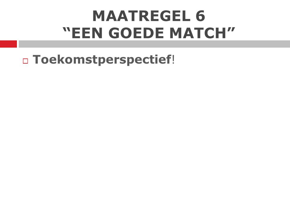 """MAATREGEL 6 """"EEN GOEDE MATCH""""  Toekomstperspectief!"""