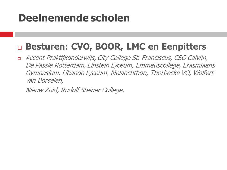 Deelnemende scholen  Besturen: CVO, BOOR, LMC en Eenpitters  Accent Praktijkonderwijs, City College St. Franciscus, CSG Calvijn, De Passie Rotterdam
