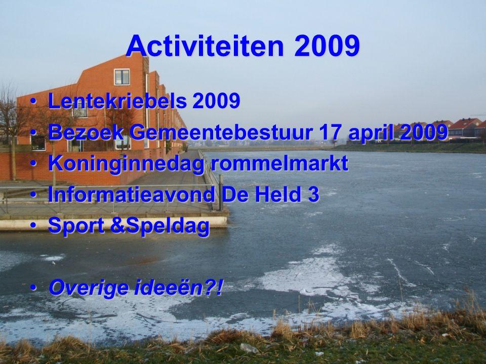 Activiteiten 2009 Lentekriebels 2009Lentekriebels 2009 Bezoek Gemeentebestuur 17 april 2009Bezoek Gemeentebestuur 17 april 2009 Koninginnedag rommelma